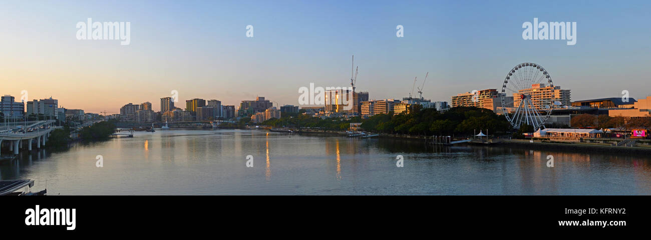 Brisbane, Australia - September 18, 2017: Sunrise Panorama of the Brisbane River & South Bank, Queensland Australia - Stock Image