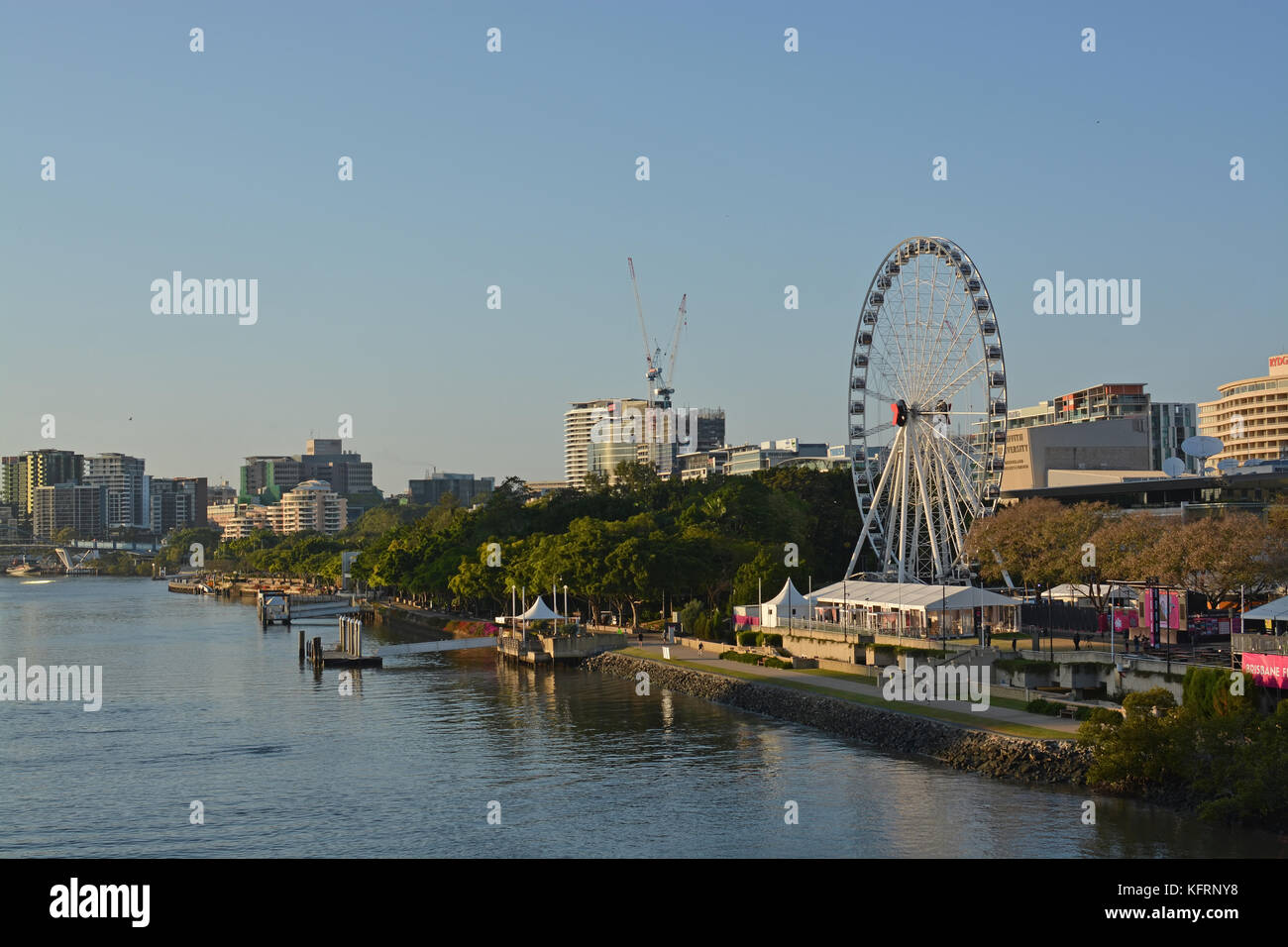 Brisbane, Australia - September 18, 2017: Sunrise Panorama of the Brisbane River & South Bank Big Wheel, Queensland - Stock Image