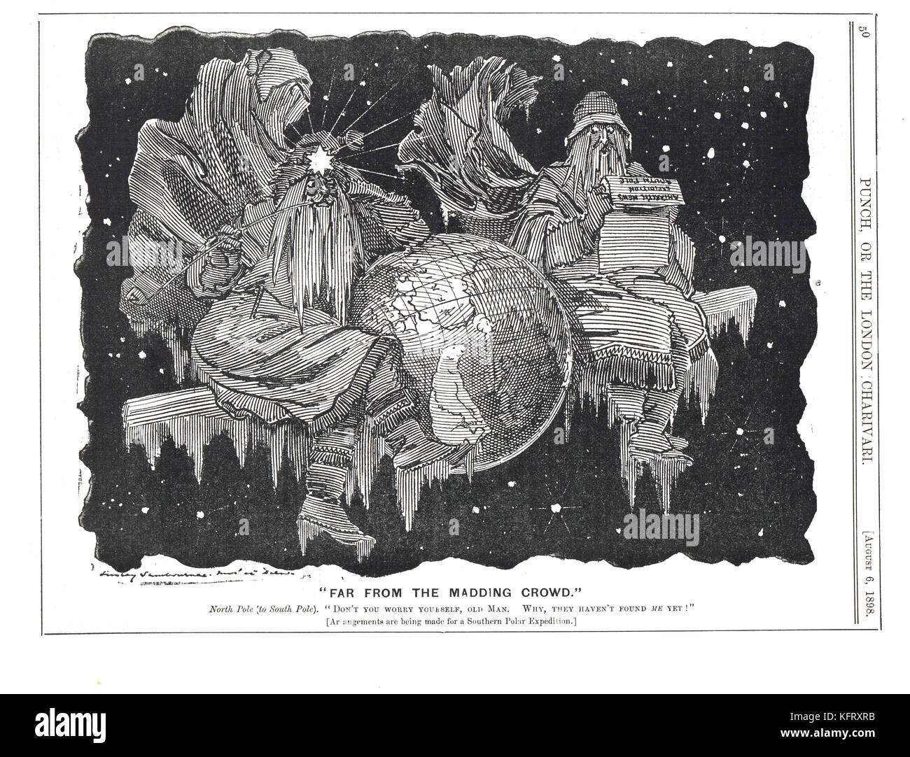 Southern Cross Expedition, Punch cartoon 1898, The North pole telling the South Pole not to worry himself as they - Stock Image