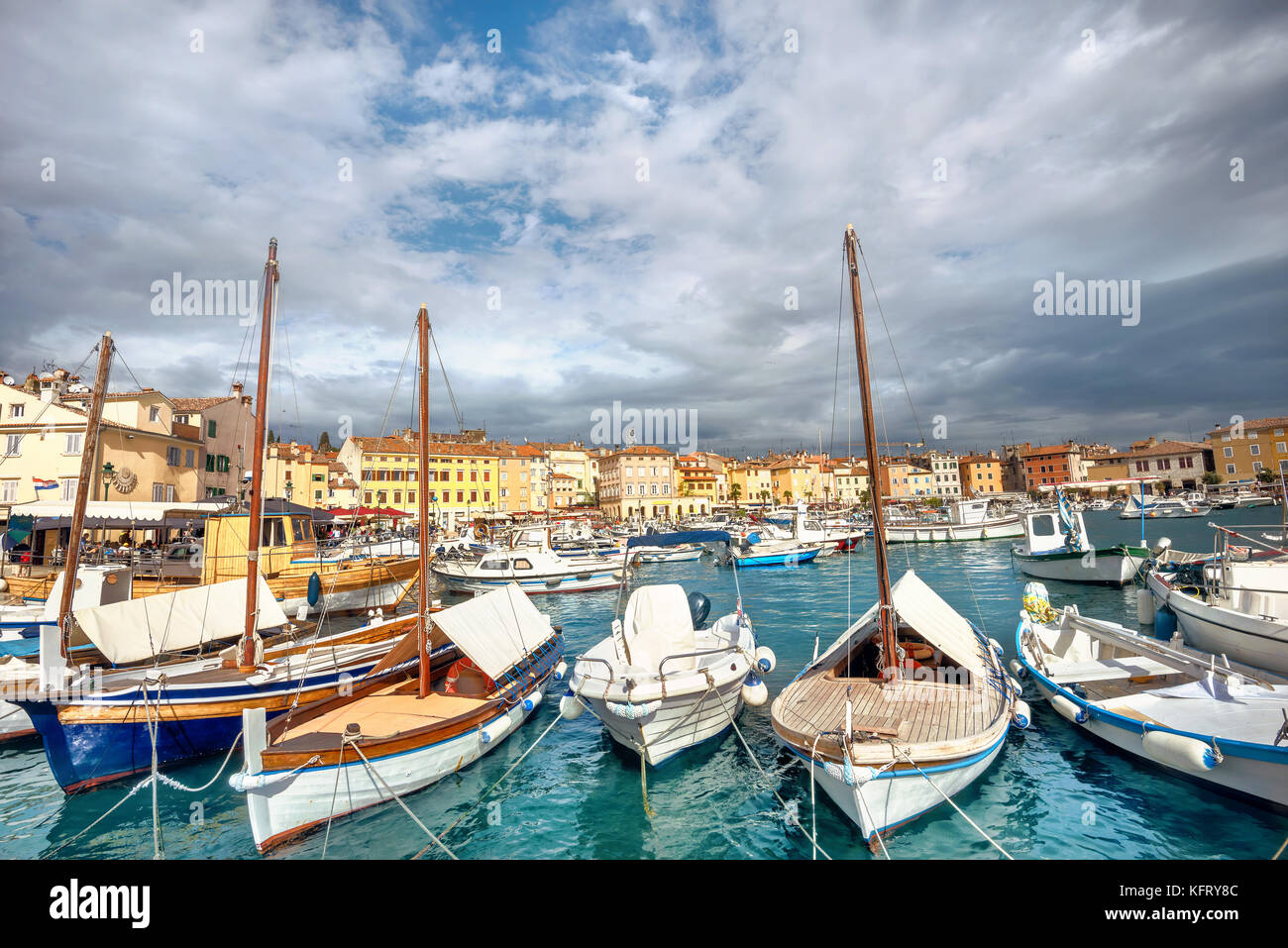 Harbour and marina in old town of Rovinj. Istria, Croatia - Stock Image