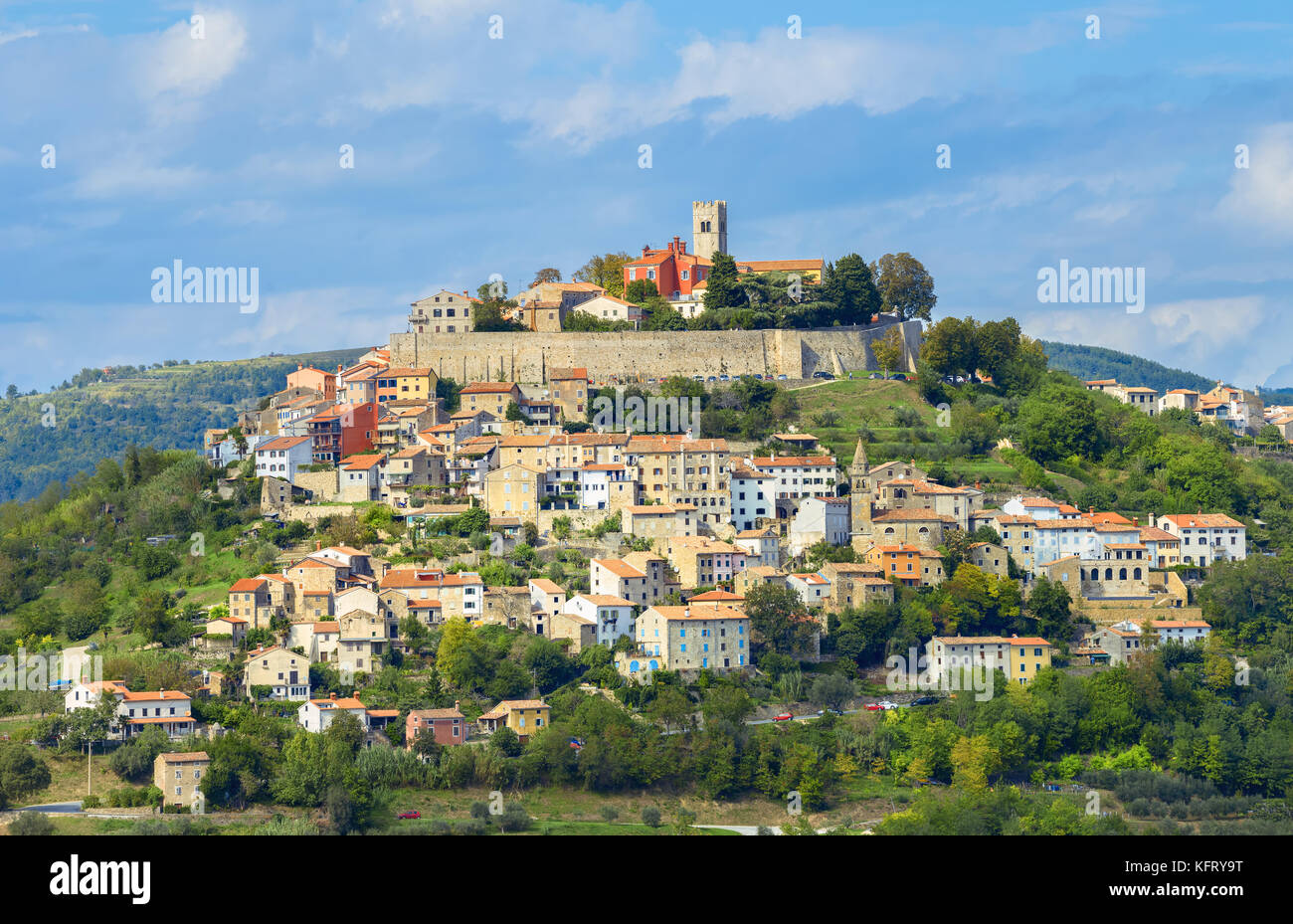 View of famous small old town Motovun on picturesque hill. Istria, Croatia - Stock Image