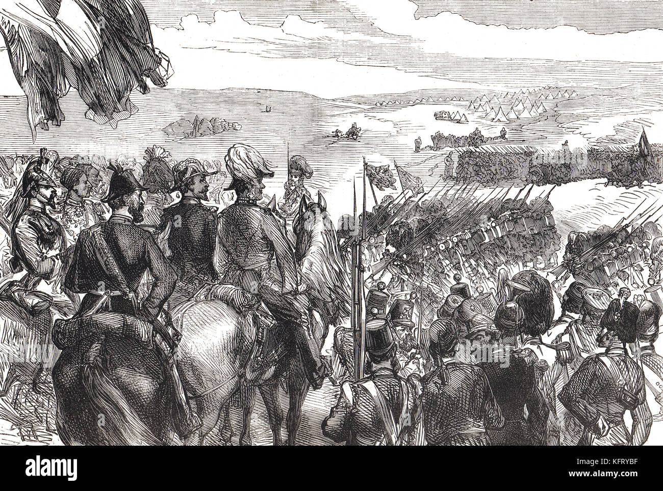The march past, Battle of Kinburn, 1855. A combined land-naval engagement during the Crimean War - Stock Image