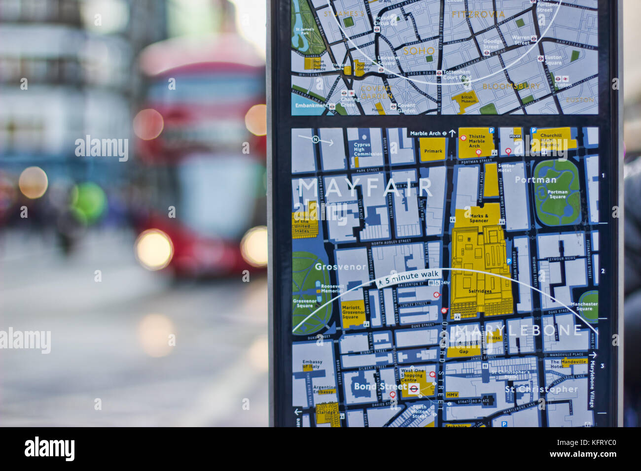 London Oxford Street Tourist Street Map Showing Red Bus In The Stock
