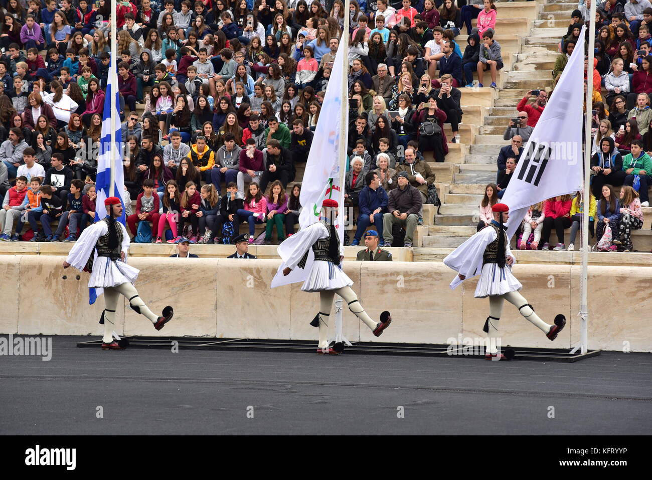 Athens, Greece. 31st Oct, 2017. Greek Presidential Guard is entering the Panathenaic Stadium. The Handover Ceremony Stock Photo