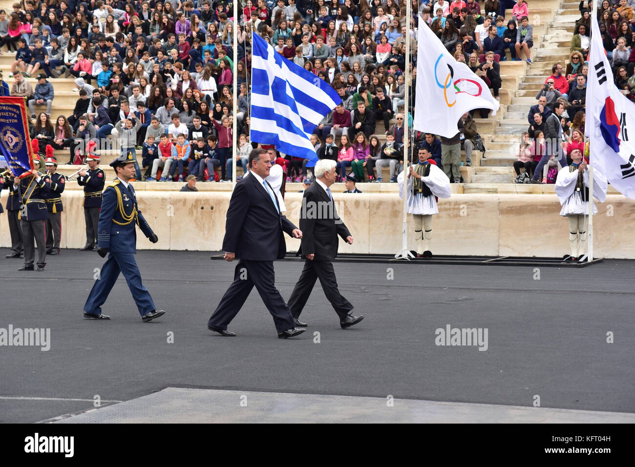 Athens, Greece. 31st Oct, 2017. President of Hellenic Republic Prokopis Pavlopoulos (right) is accompanied by the Stock Photo