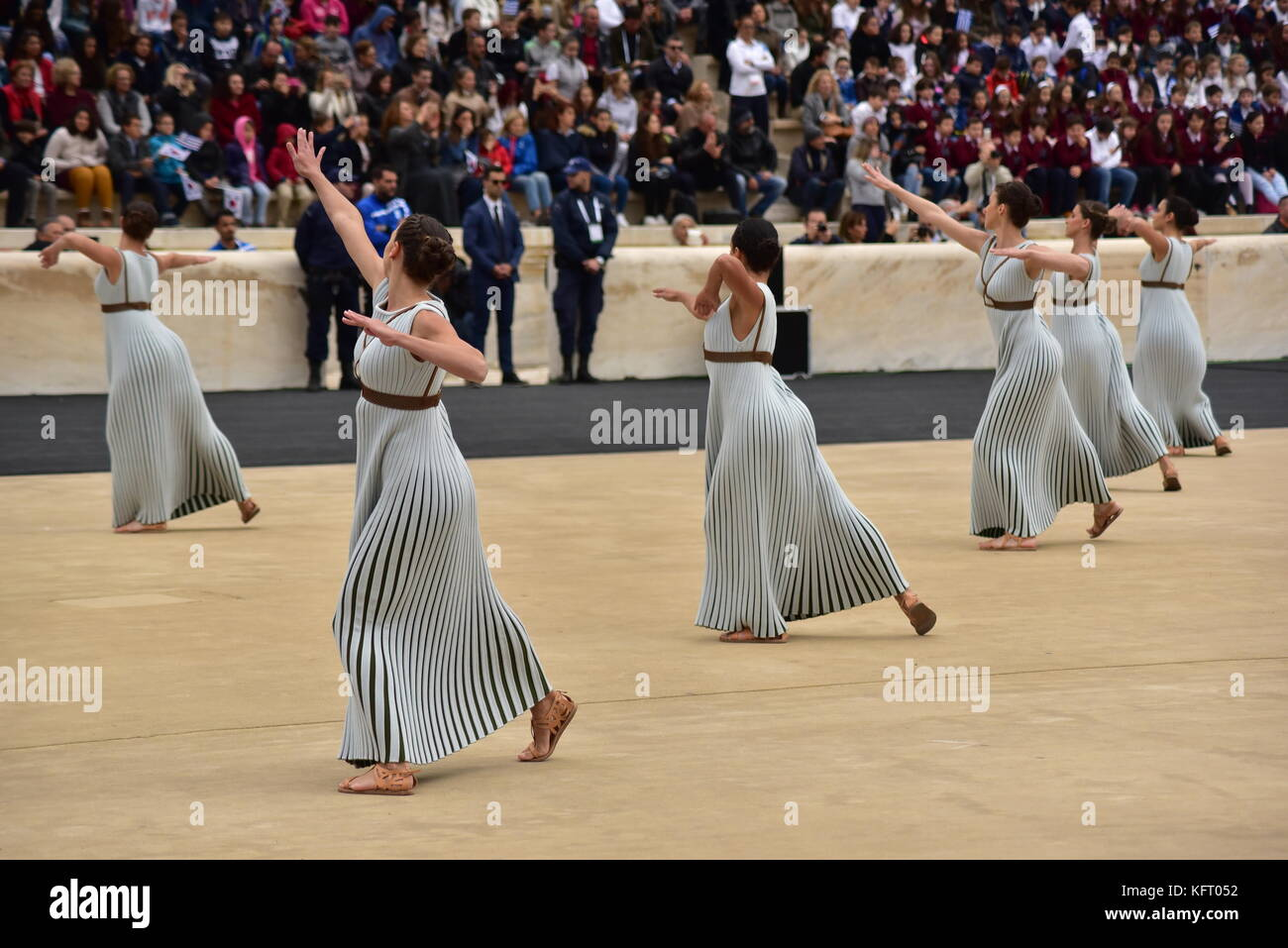 Athens, Greece. 31st Oct, 2017. During the Choreography performed by the Priestesses. The Handover Ceremony of the Stock Photo