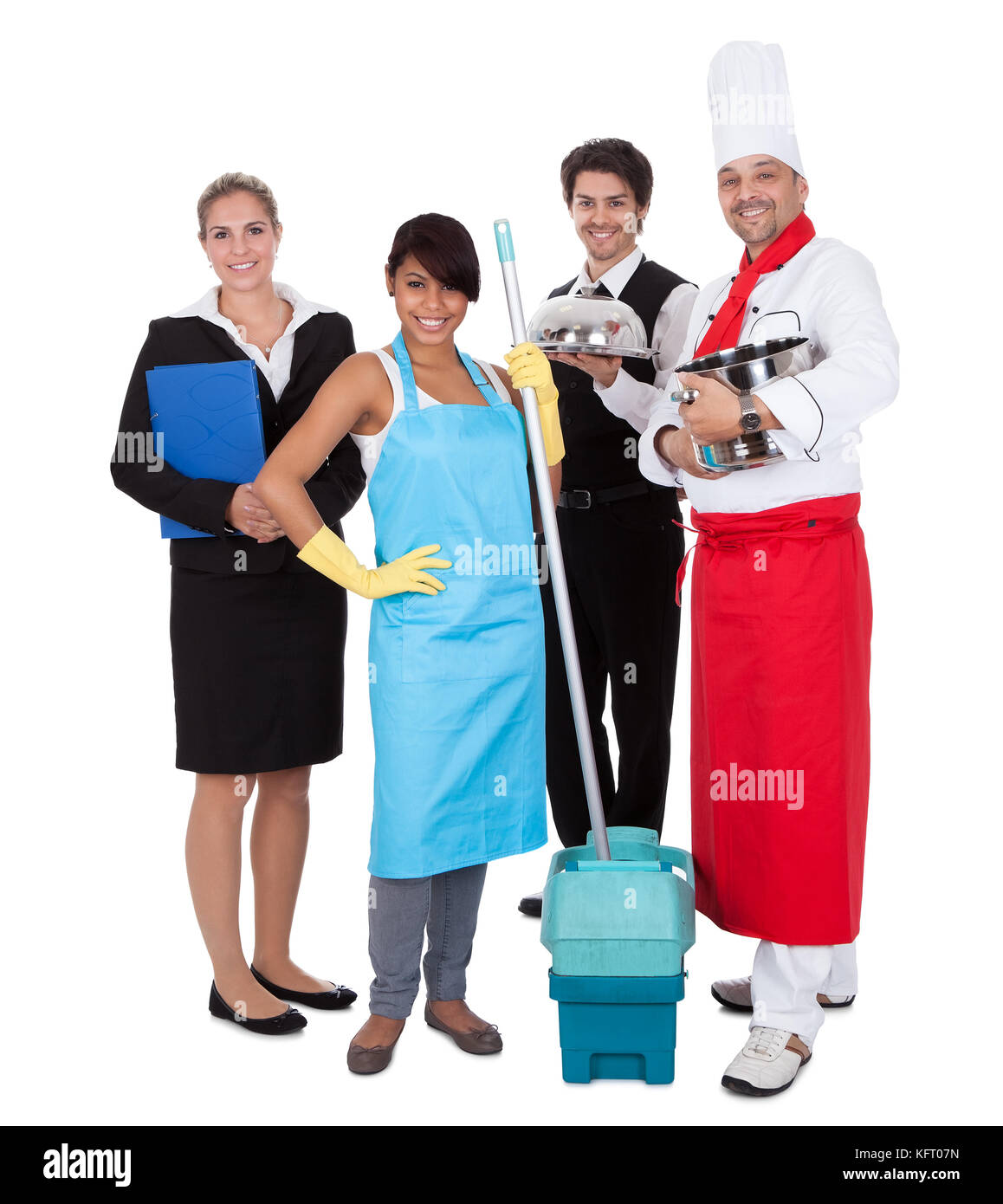 Diverse group of smiling workers. Isolated on white - Stock Image