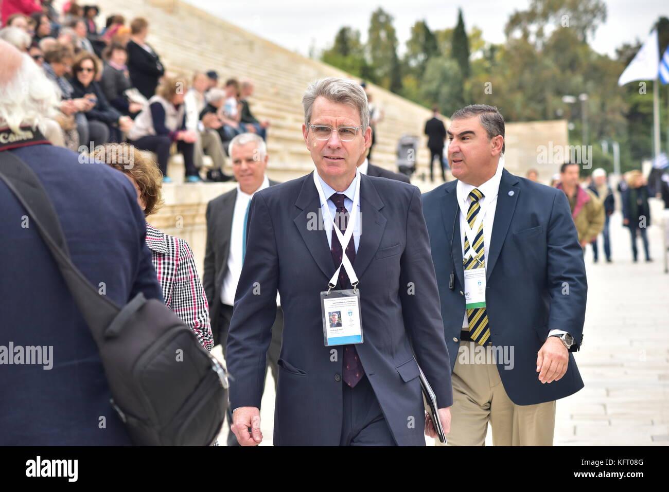 Athens, Greece. 31st Oct, 2017. United States Ambassador to Greece Geoffrey Ross Pyatt in Panathenaic Stadium. The Stock Photo