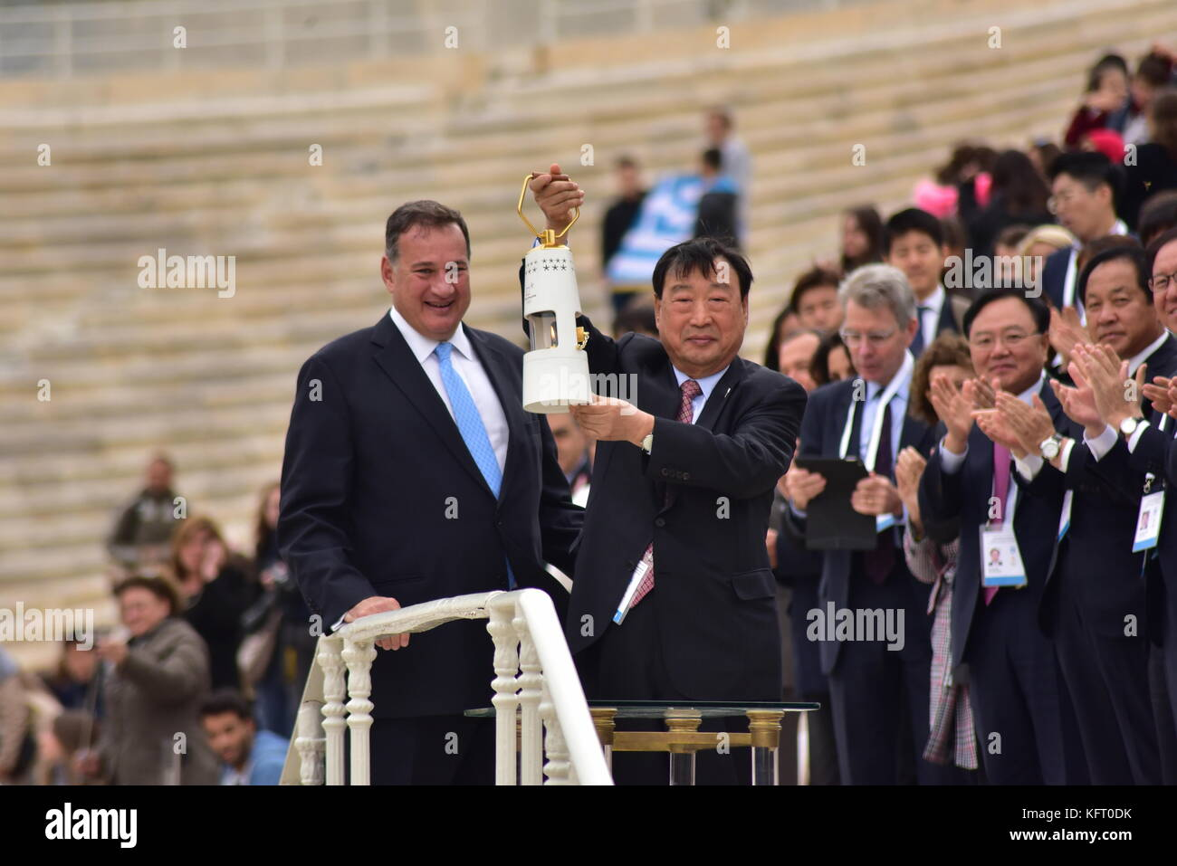 Athens, Greece. 31st Oct, 2017. President of the Hellenic Olympic Committee Spyros Capralos (left) and President Stock Photo