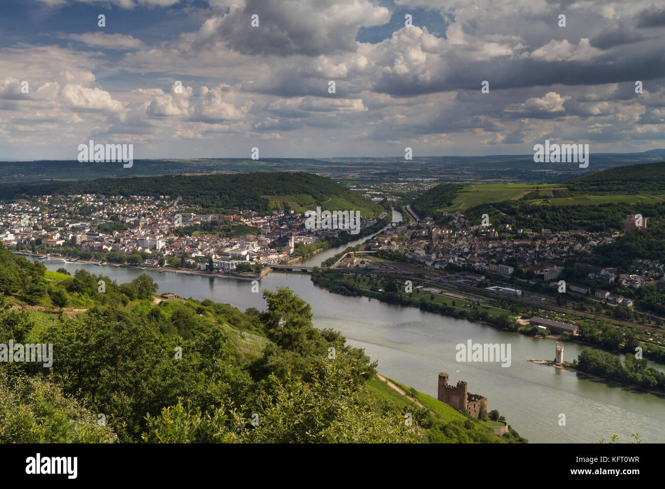 Lookout Rossel - Viewpoint of the Rhine Valley, Ruedesheim, Germany - Stock Image