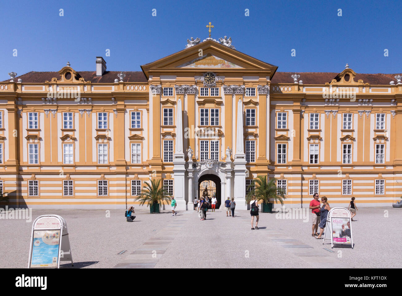 The main entrance to the magnificent Baroque Melk Abbey in the Wachau region of Lower Austria - Stock Image