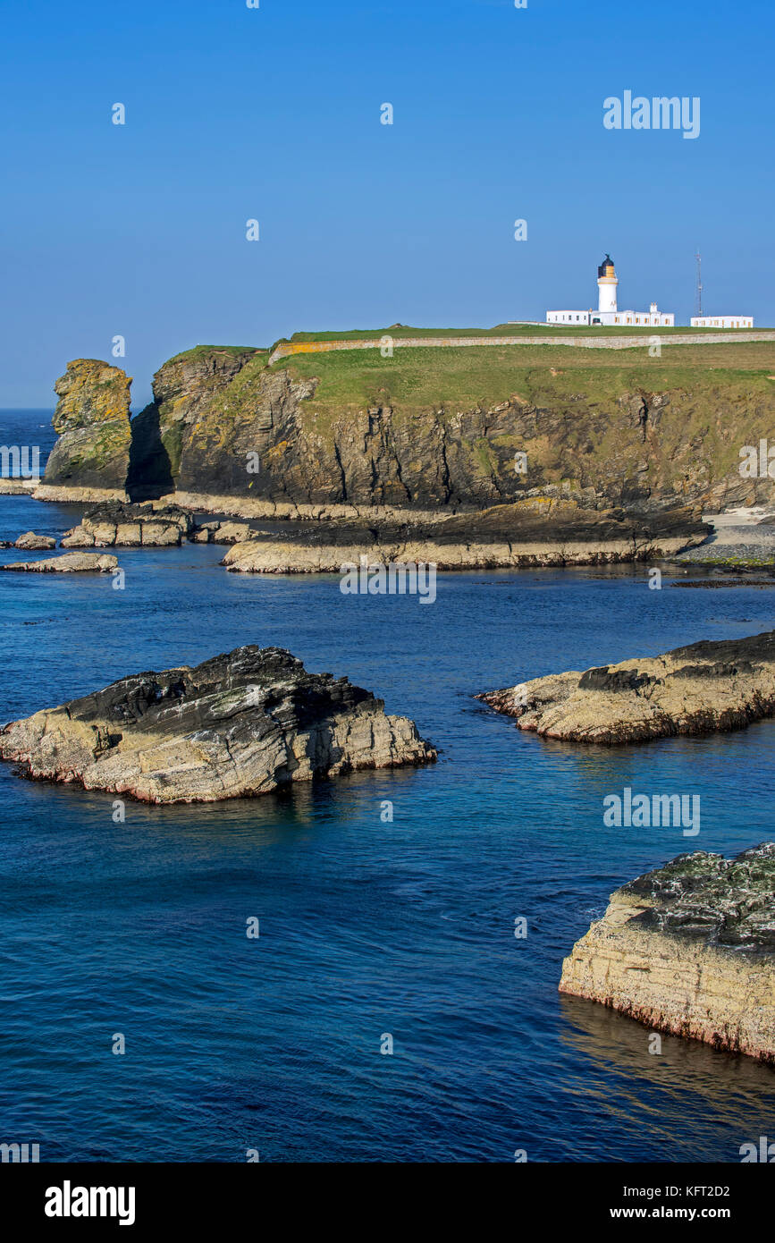 Noss Head Lighthouse near Wick in Caithness, Highland, Scotland, UK - Stock Image