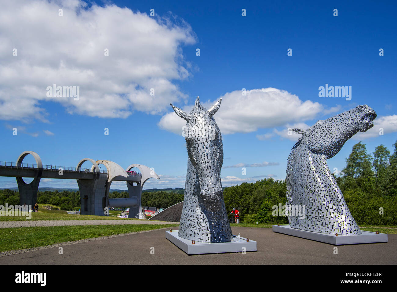 The Kelpies, horse-head sculptures at the Falkirk Wheel, rotating boat lift in Stirlingshire, Scotland, UK - Stock Image