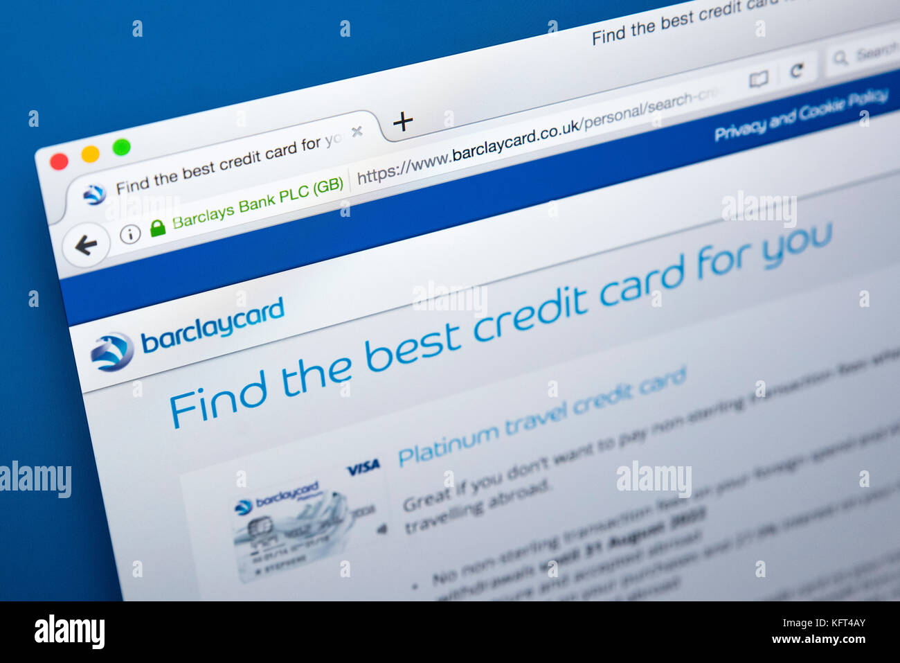 Barclaycard credit card stock photos barclaycard credit card stock london uk october 17th 2017 the homepage of the official website for barclaycard reheart Images
