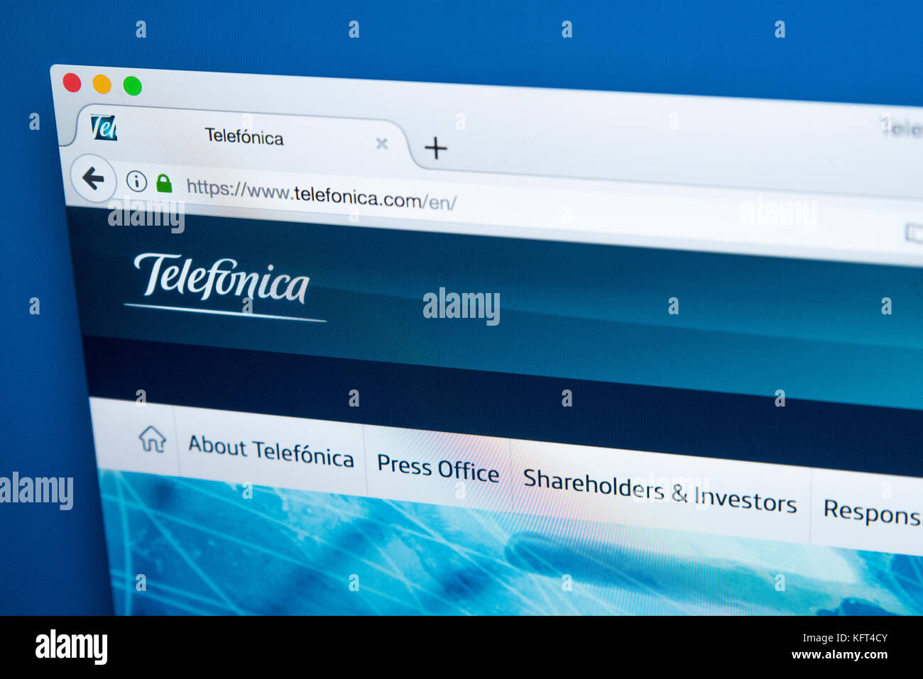 LONDON, UK - OCTOBER 17TH 2017: The homepage of the official website for Telefonica - the Spanish multinational - Stock Image