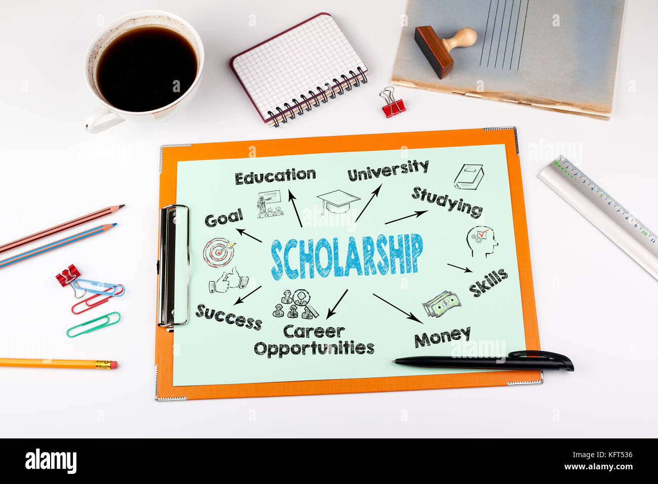 scholarship Concept, keywords and icons. Office desk with stationery - Stock Image