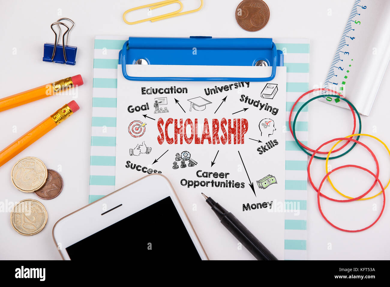 scholarship concept. Chart with keywords and icons. Office desk with stationery and mobile phone - Stock Image