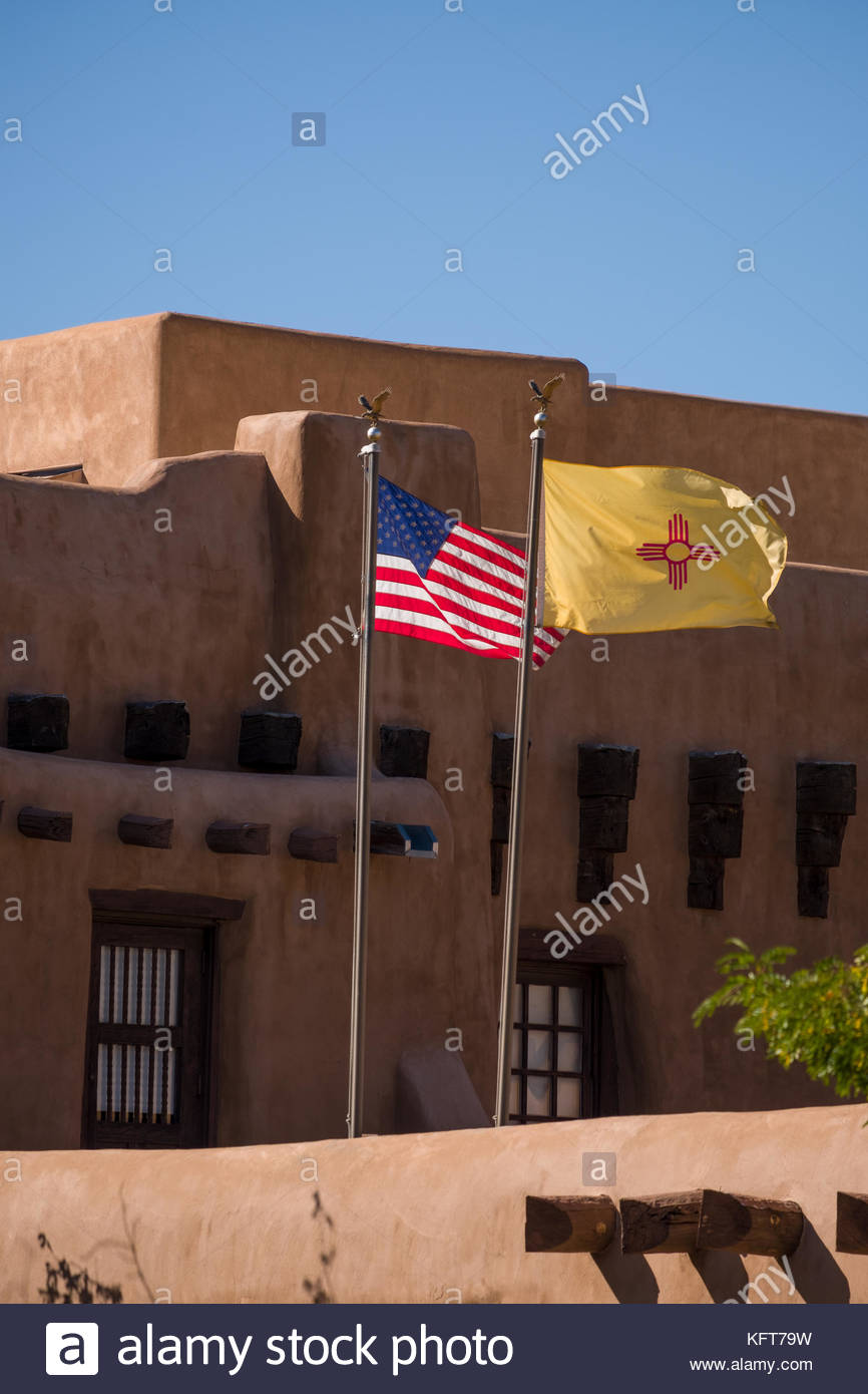 United States Flag And The New Mexico State Flag Flying Over The New Stock Photo Alamy