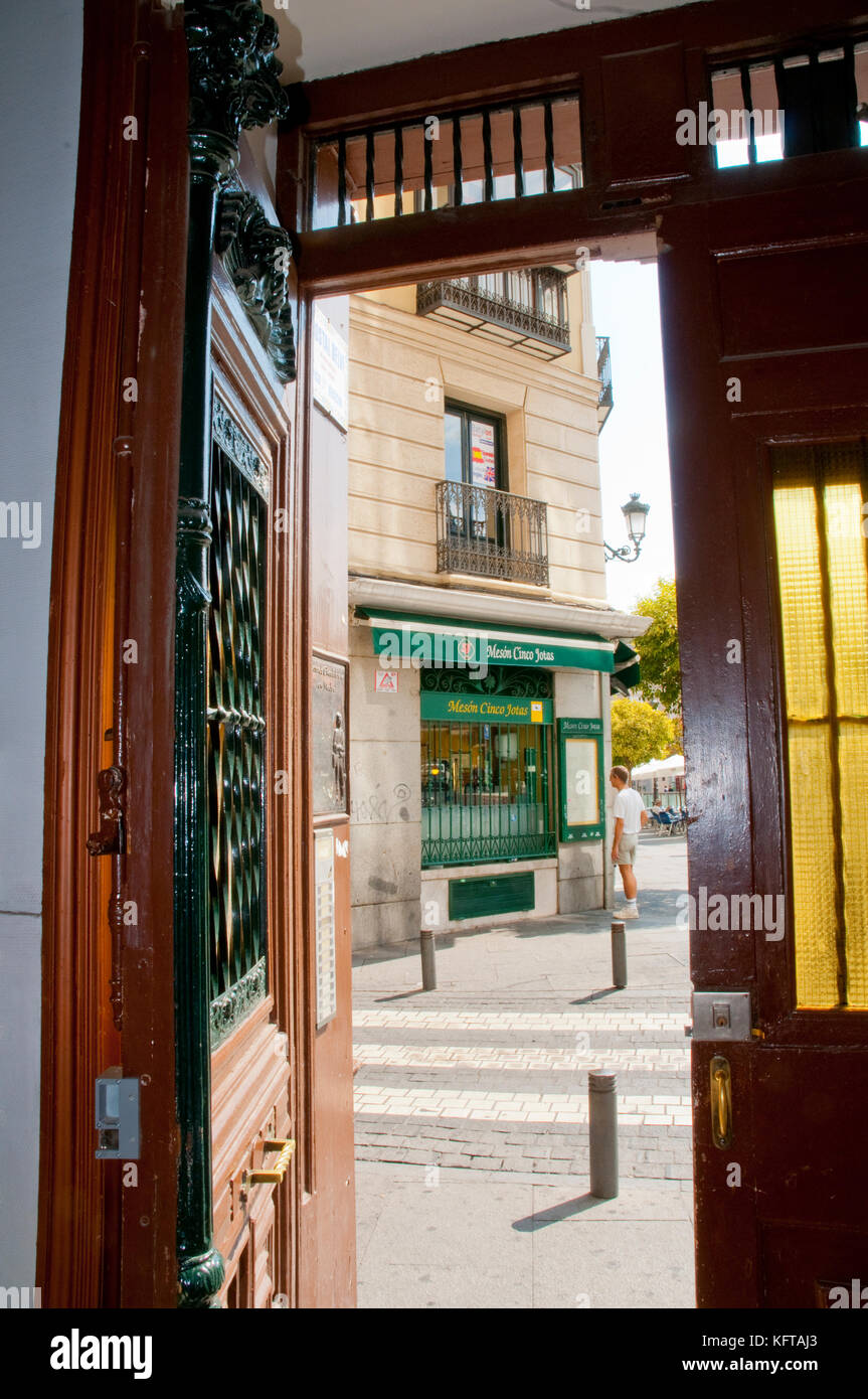 View from an open door. Santa Ana Square, Madrid, Spain. Stock Photo