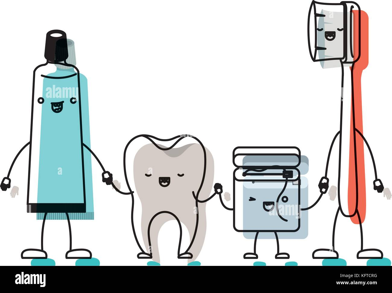1988ecbfa tooth and toothpaste and dental floss and toothbrush in cartoon holding  hands in watercolor silhouette