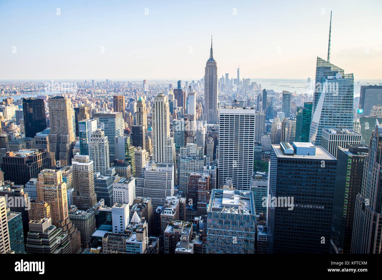 Soft sunset view of the Midtown Manhattan New York City skyline looking south - Stock Image