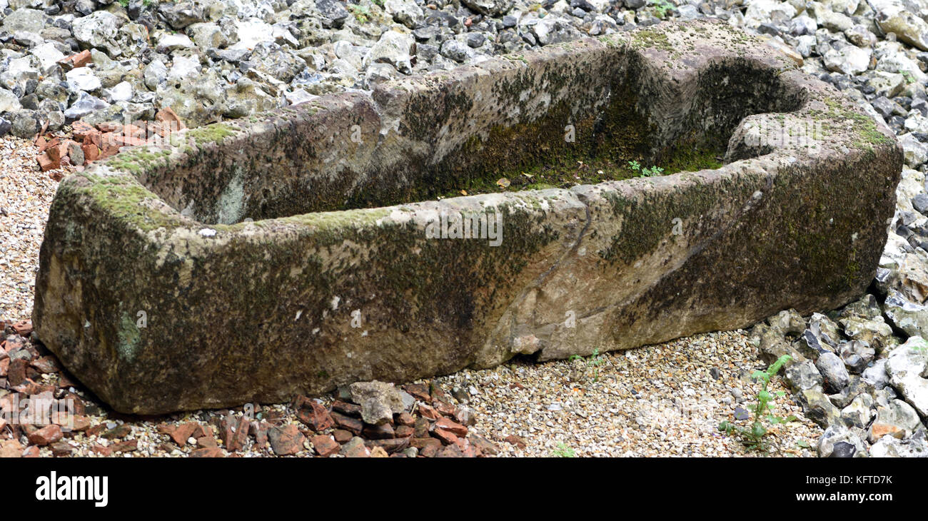 A medieval stone coffin excavated from Nunnaminster, later known as St. Mary's Abbey on the site of the foundations - Stock Image