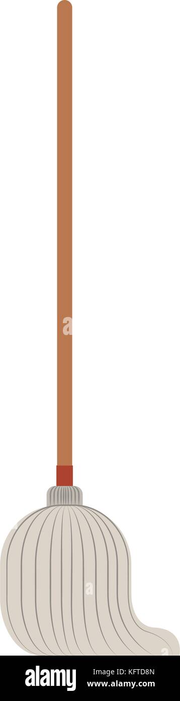 mop with wooden stick in colorful silhouette - Stock Vector
