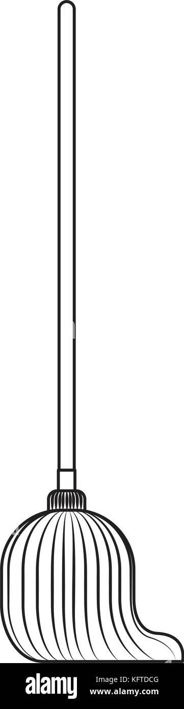 mop with wooden stick in monochrome silhouette - Stock Vector