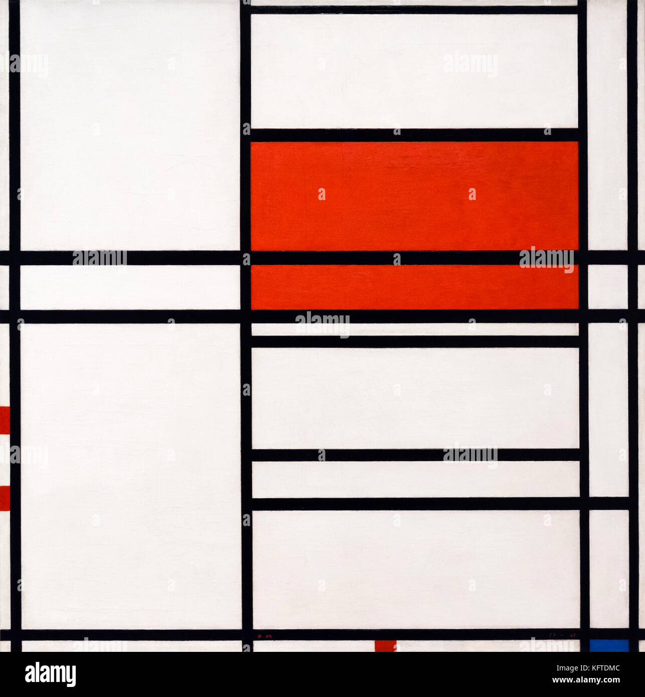 'Composition of Red and White: Nom/1 Composition No 4 with Red and Blue' by Piet Mondrian (Mondriaan) (1872 - Stock Image