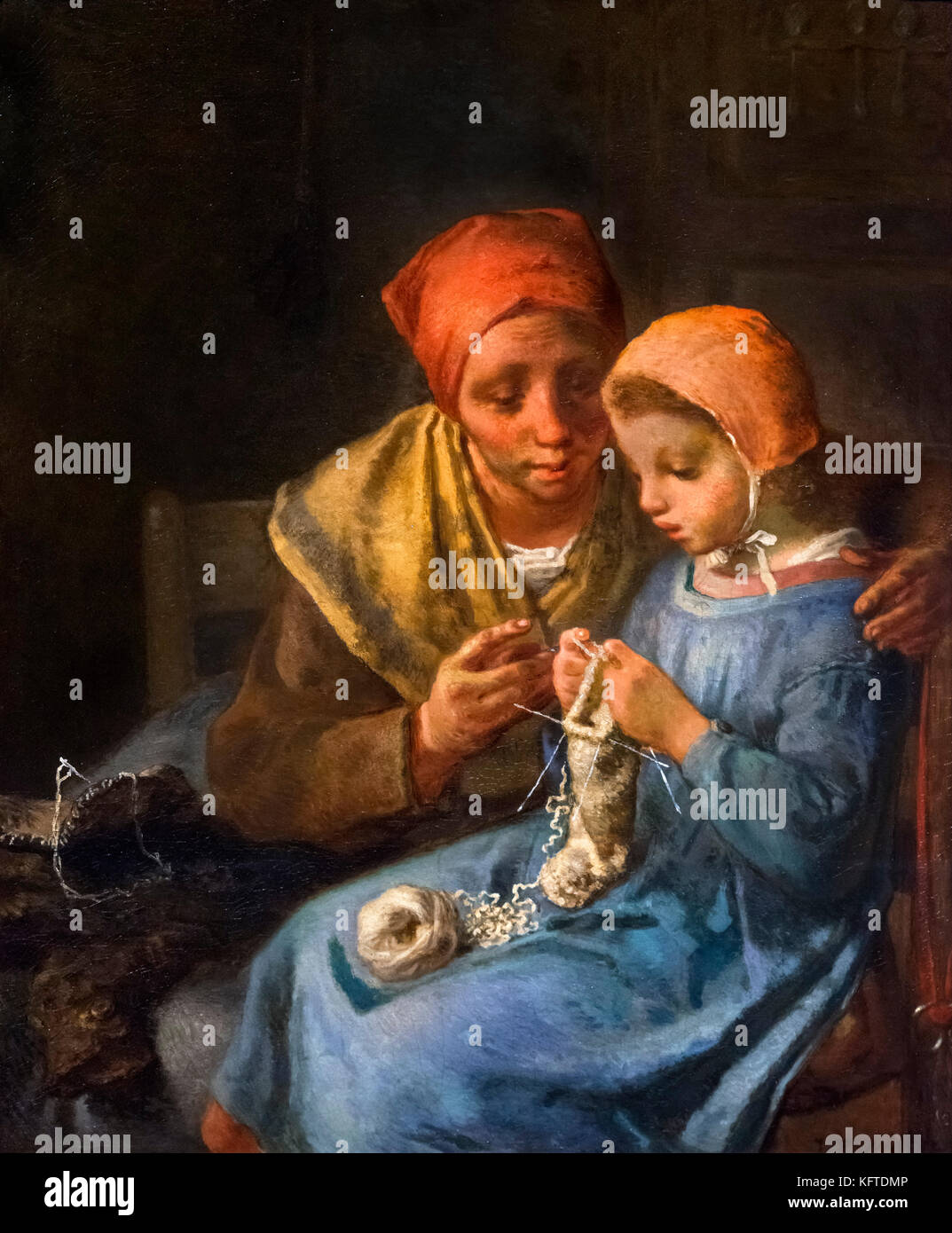 The Knitting Lesson by Jean-Francois Millet (1814-1875), oil on canvas, 1869 - Stock Image