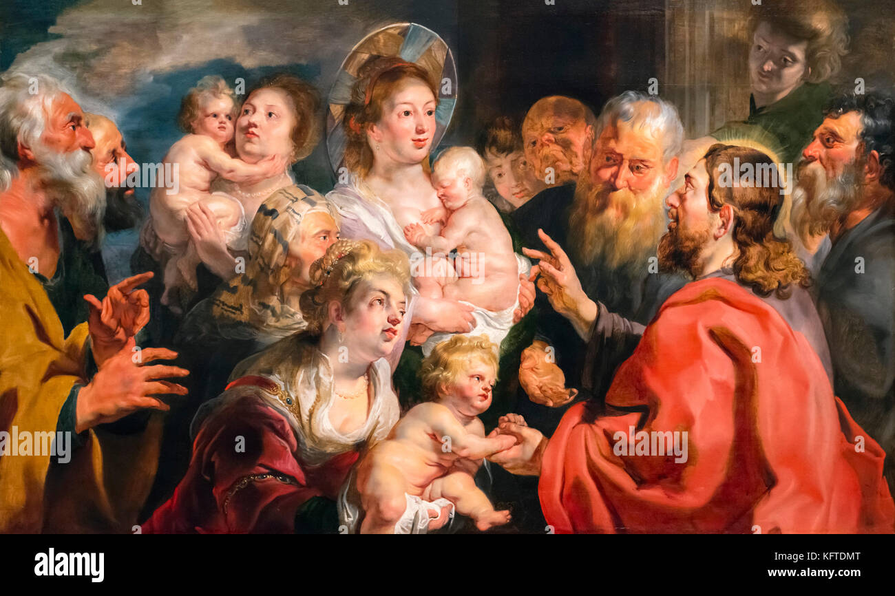 Suffer the Little Children to Come Unto Me (Mark 10:13-16) by Jacques Jordaens (1593-1678), oil on canvas, 1615 - Stock Image