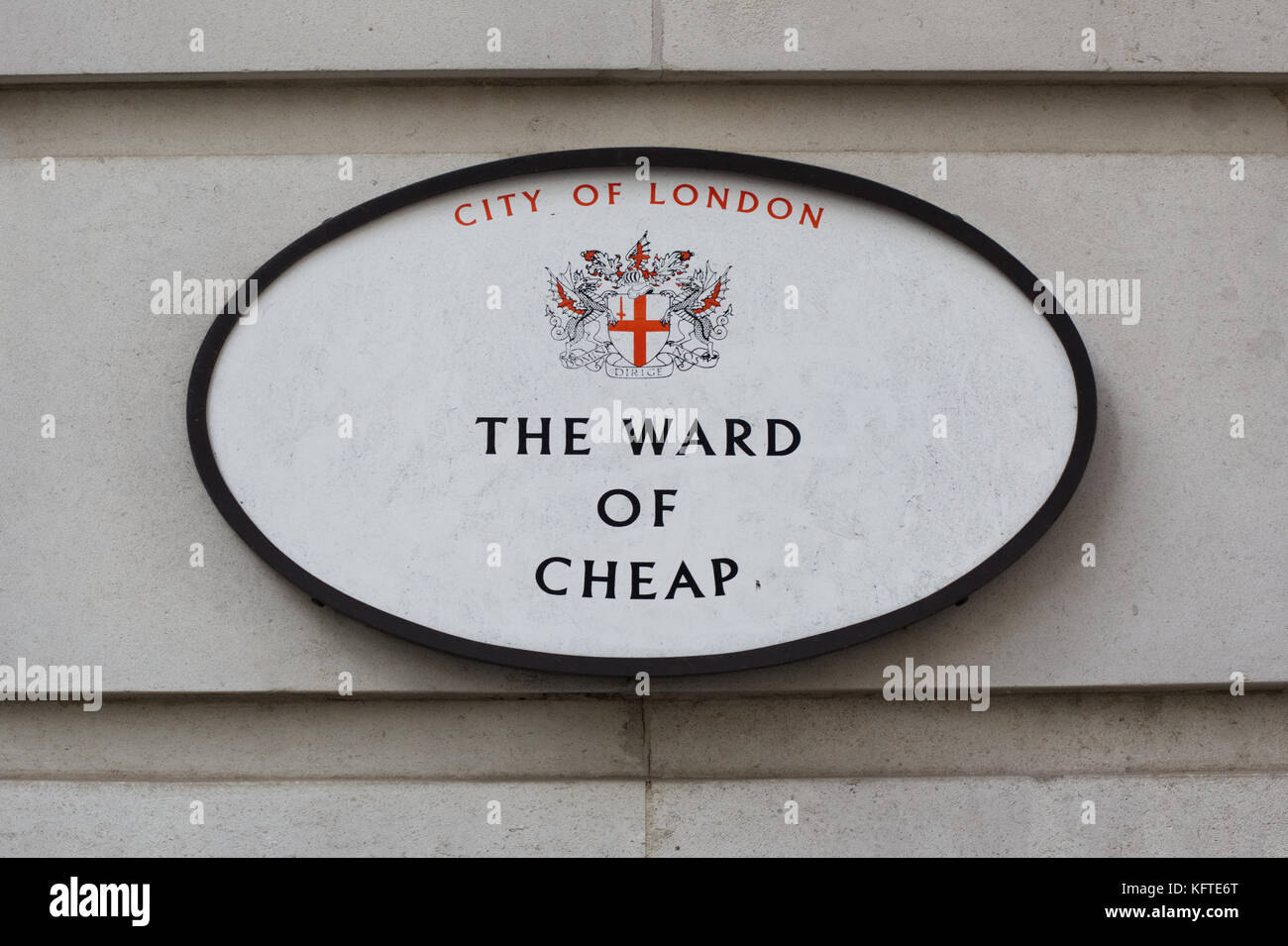 The Ward of Cheap sign in the City of London - Stock Image