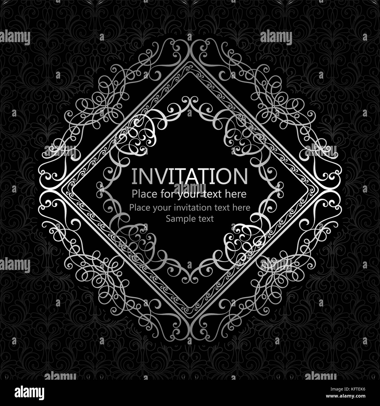 Abstract Background With Calligraphic Luxury Silver Flourishes And Vintage Frame Victorian Bannerwallpaper Ornaments Invitation Card Baroque Style