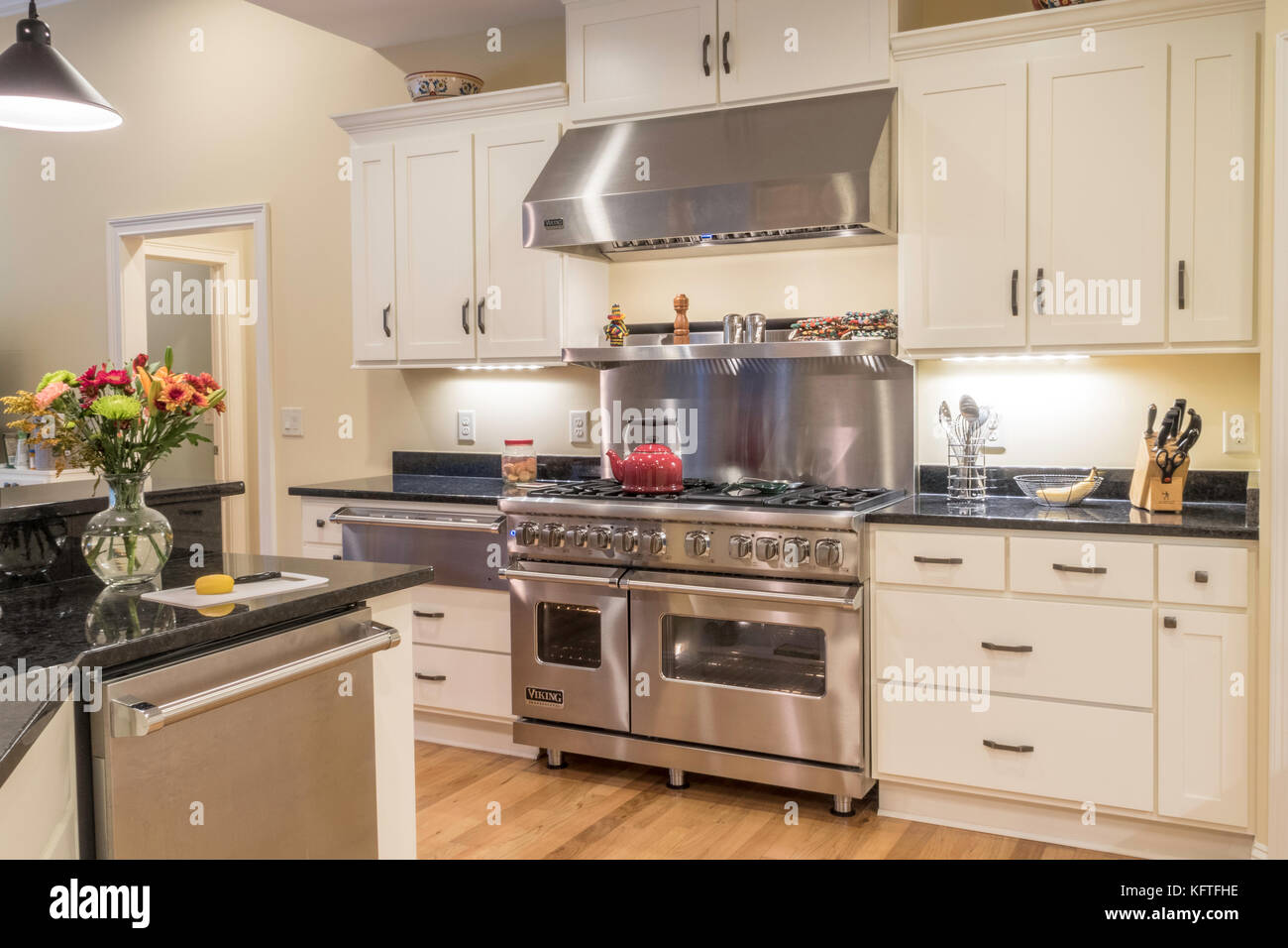 Upscale Residential Dining Kitchen, USA Stock Photo