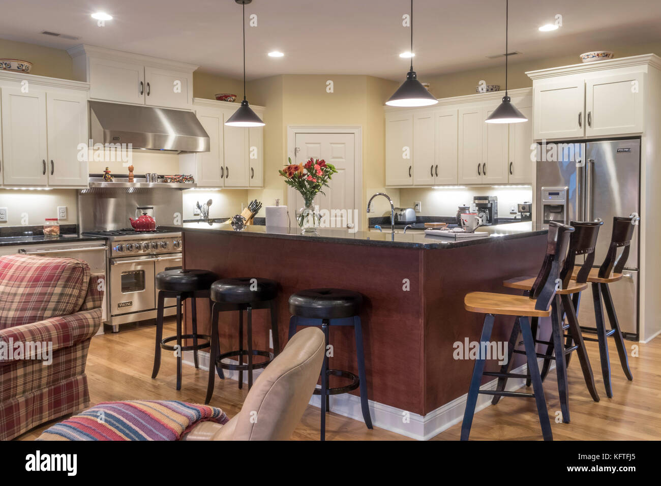 Upscale Residential Great Room, USA - Stock Image