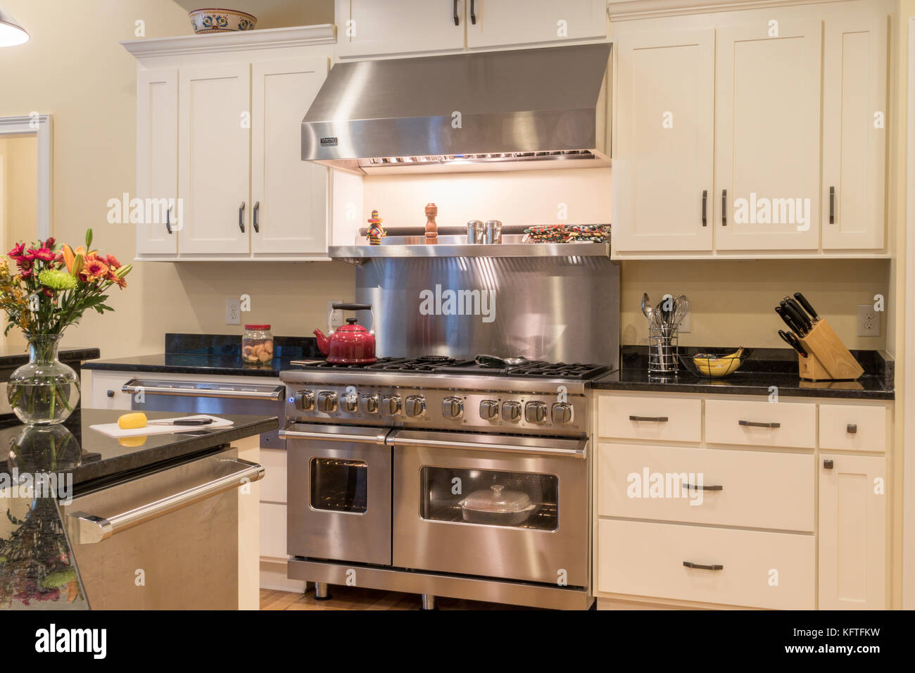 Upscale Residential Kitchen, USA - HDR - Stock Image