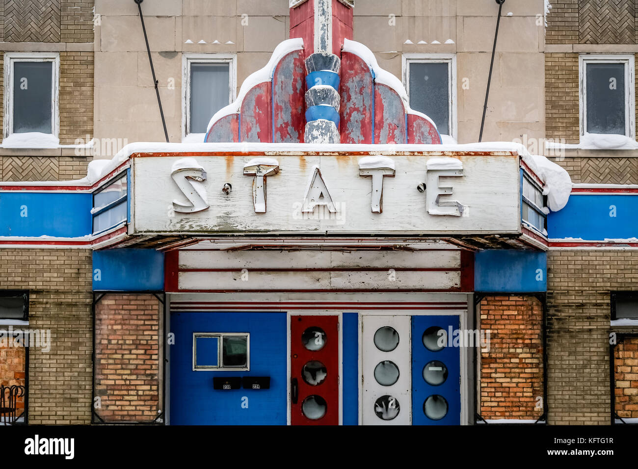 Old Historic State Theater marquee on Sheridan Street in Ely, Minnesota, USA - Stock Image