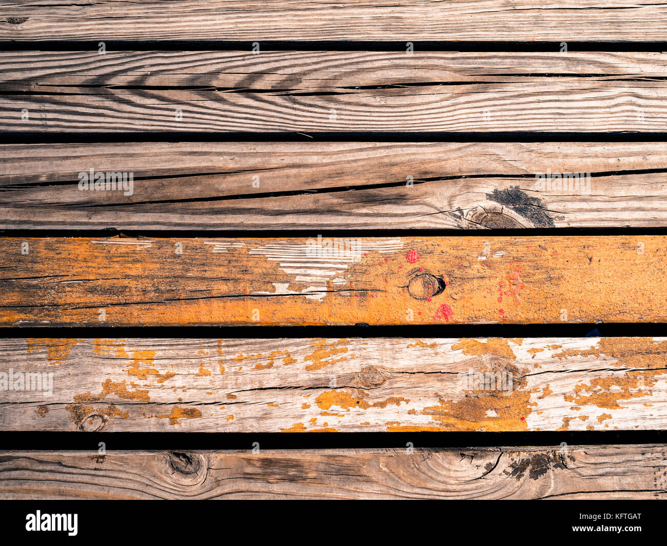Old wooden planks gritty wood texture background - Stock Image