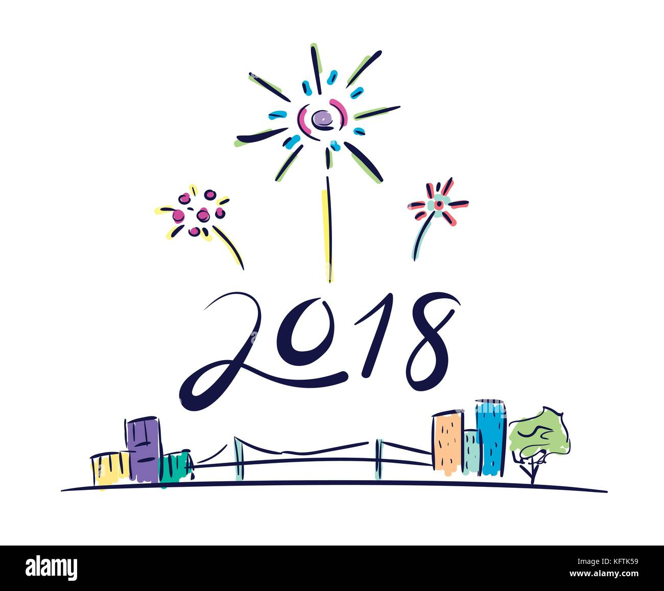 vector of 2018 new year number firework floating over cityscape in doodle cartoon styleholiday celebration concept