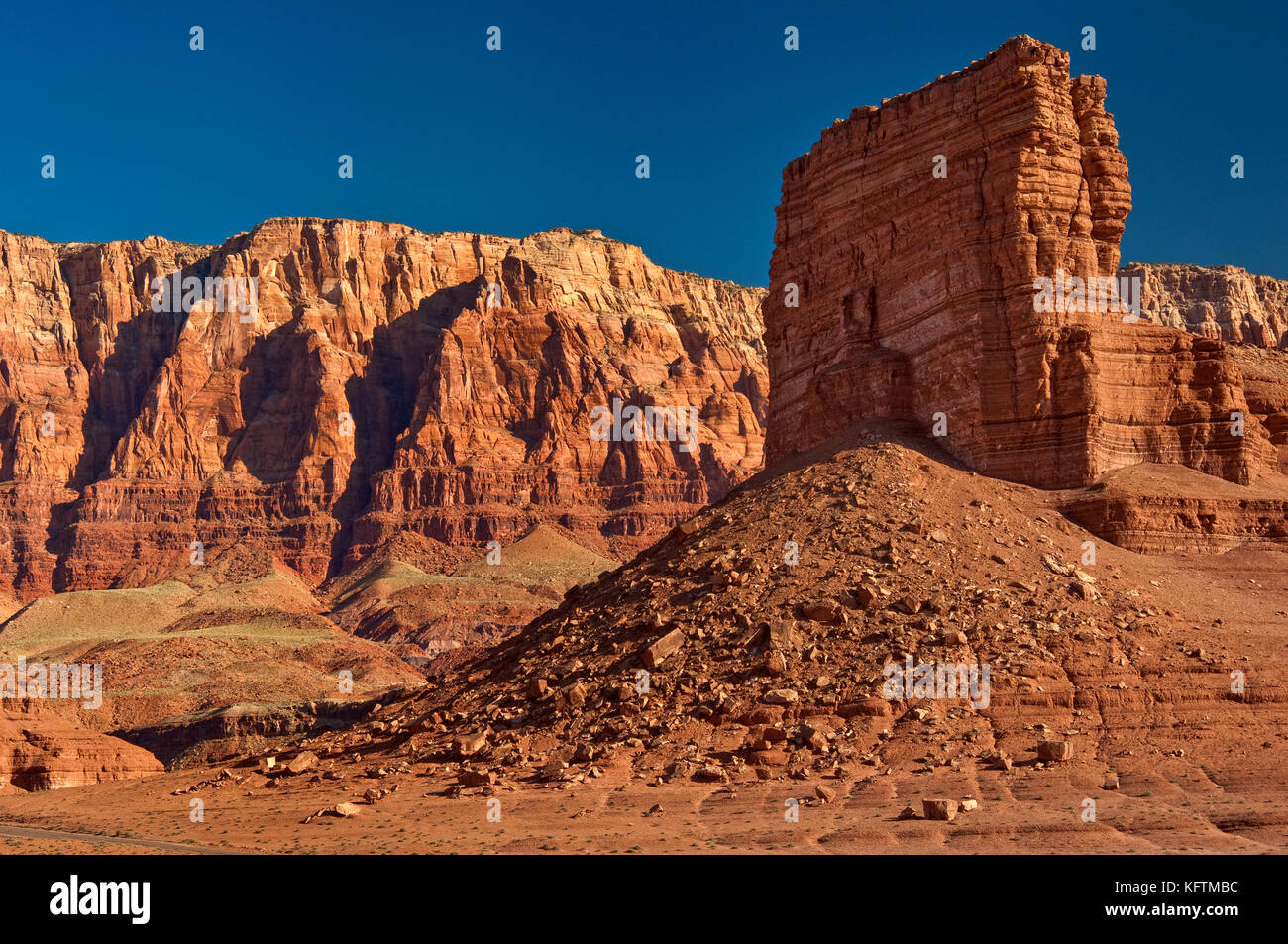 Cathedral Rock, butte near Lees Ferry, Paria Plateau escarpment in distance, Vermilion Cliffs National Monument, - Stock Image