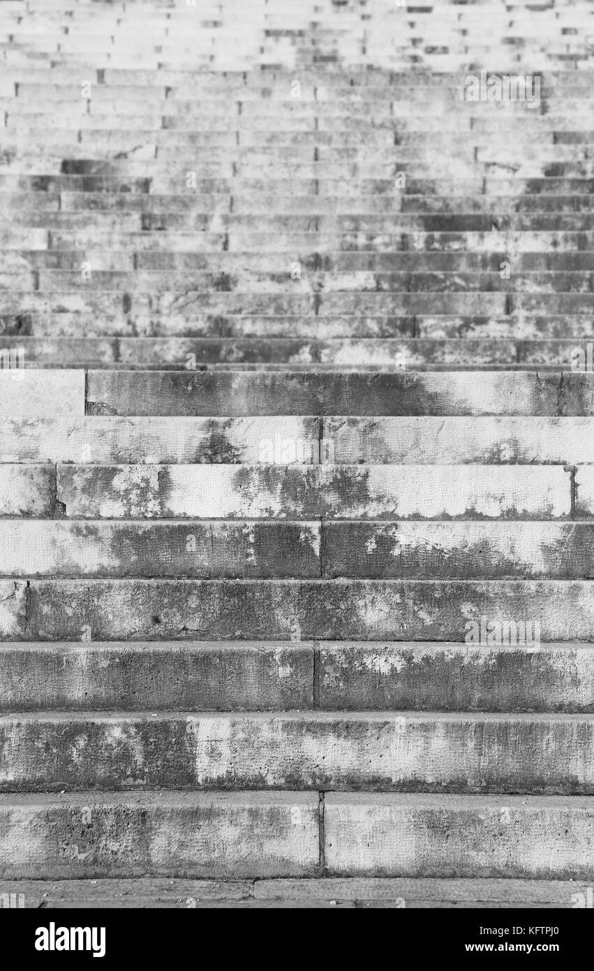 infinite greys steps of stairway with black and white effect - Stock Image