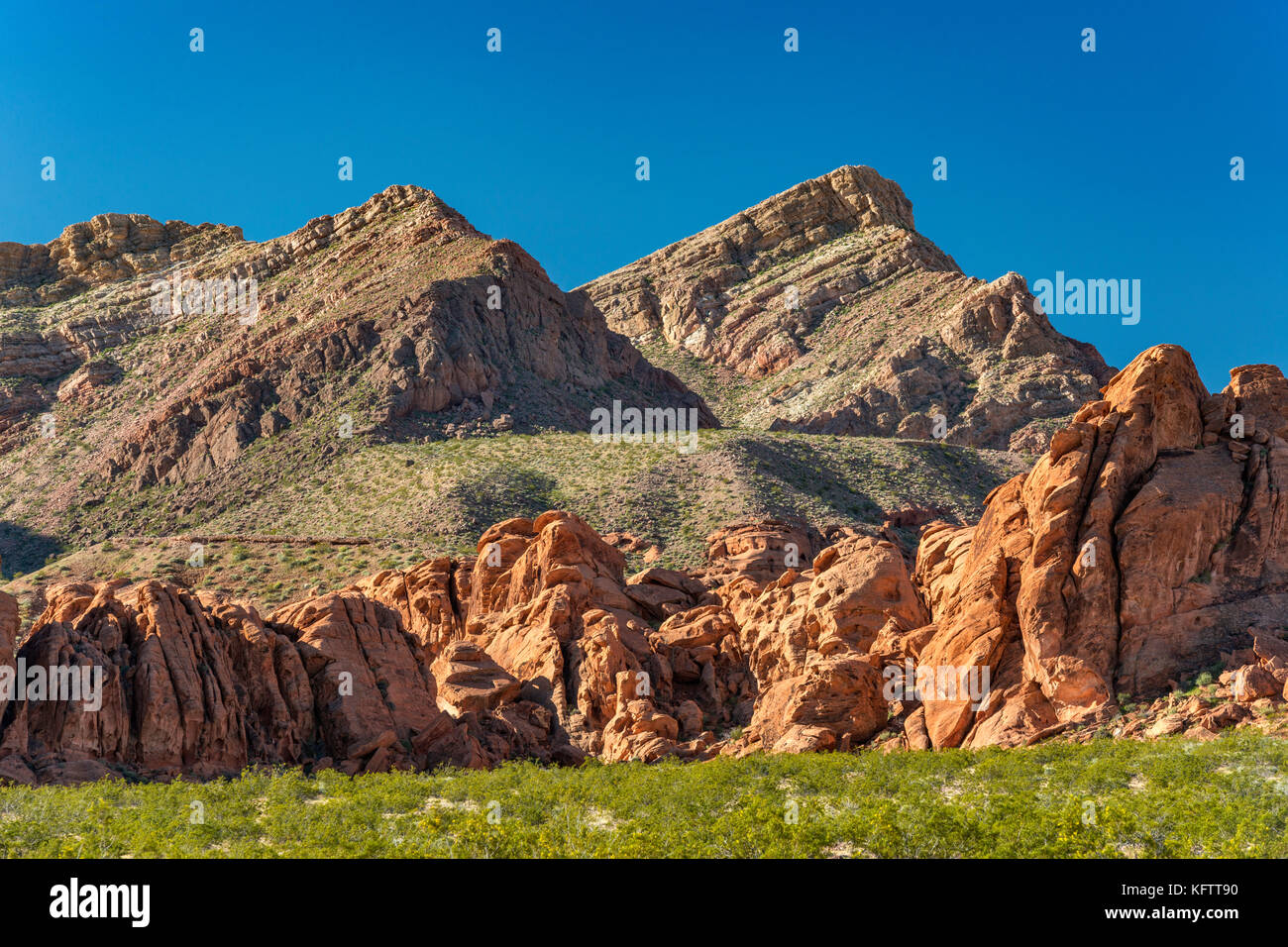 Rock formations at Redstone Trail, Northshore Road area, Lake Mead National Recreation Area, Nevada, USA - Stock Image
