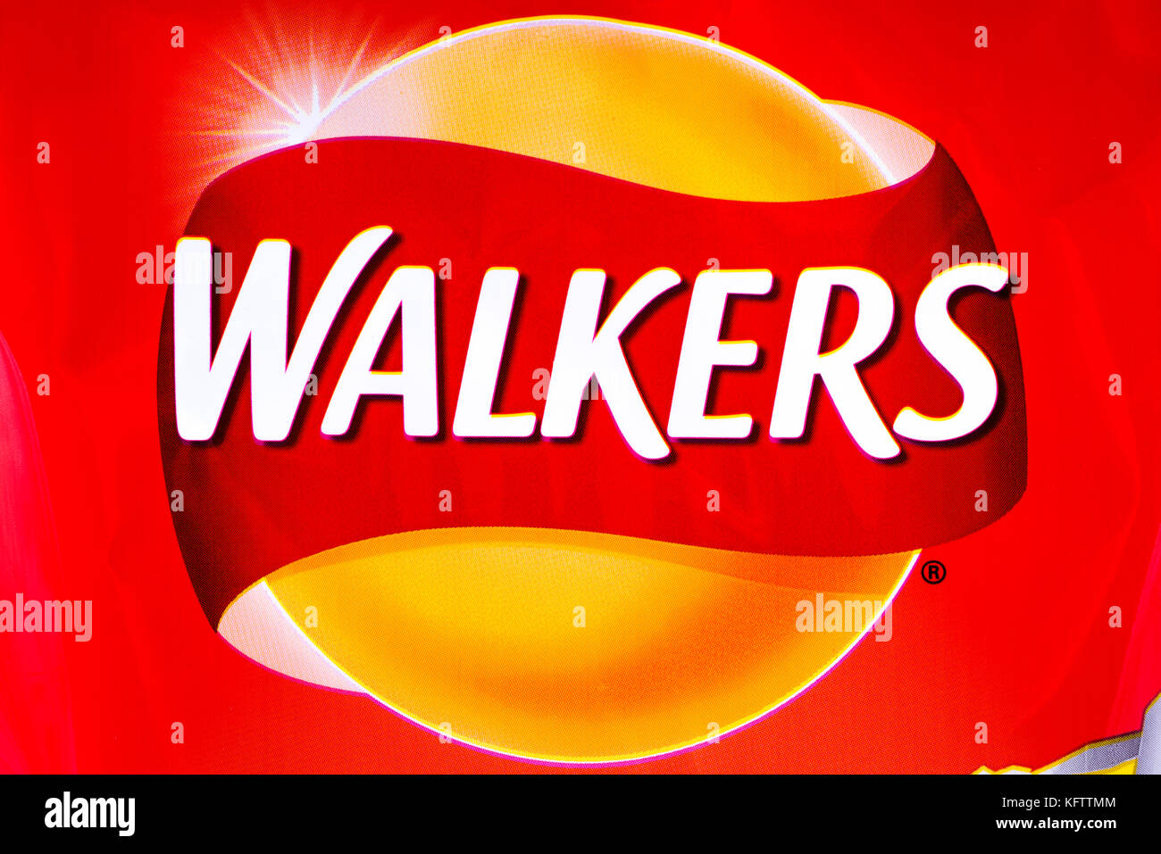 LONDON, UK - OCTOBER 10TH 2017: A close-up of the Walkers logo on a pack of Ready Salted crisps, on 10th October - Stock Image