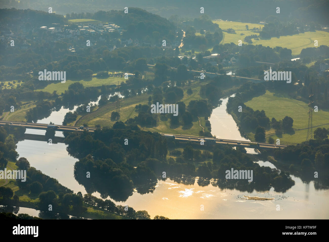 Influence of the Ruhr in the Kemnade, Ruhr Valley, Kemnader Reservoir, Autumnal, sun reflections, Bochum, Ruhr area, - Stock Image