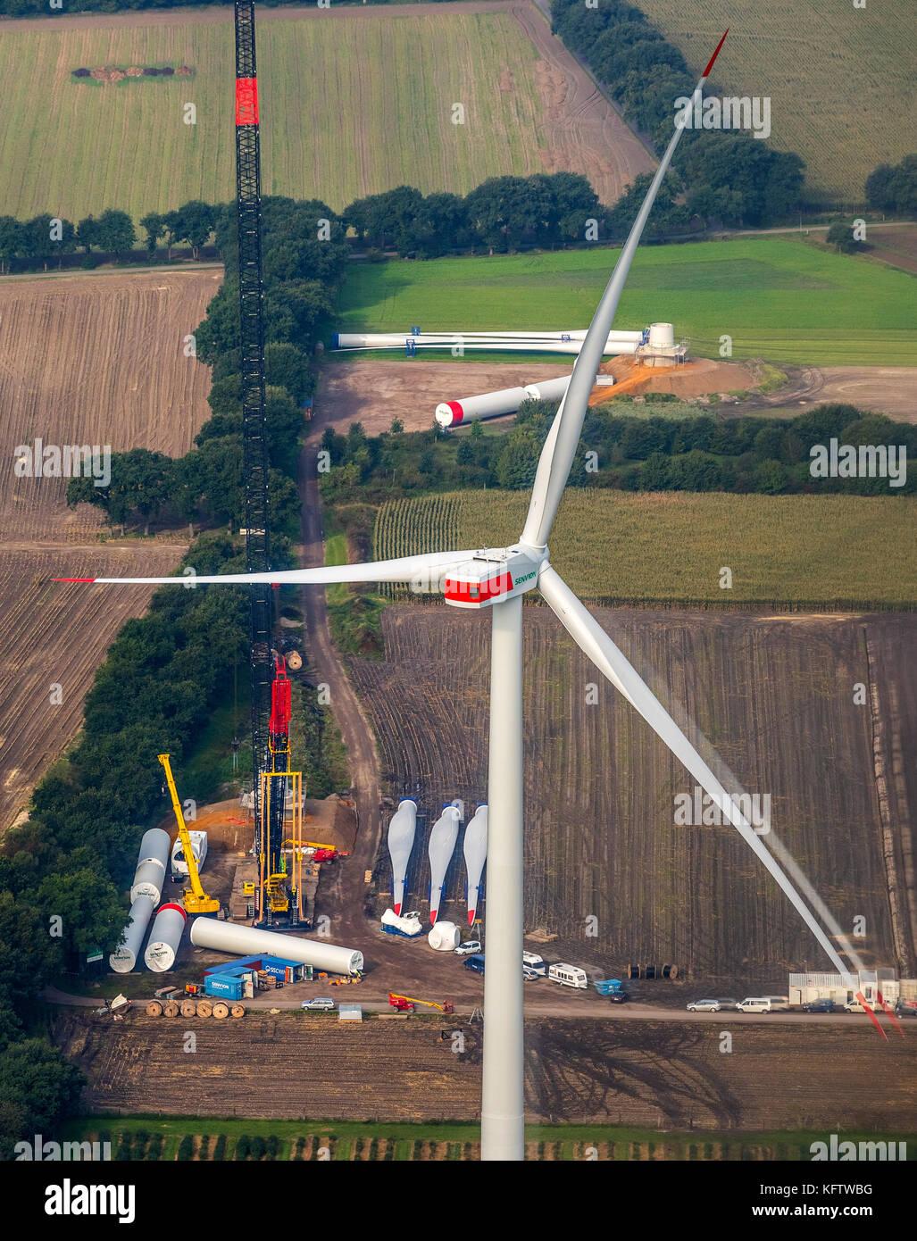 in Schermbeck on the city boundary to Dorsten arise wind power plants, alternative energy, regenerative energy, - Stock Image