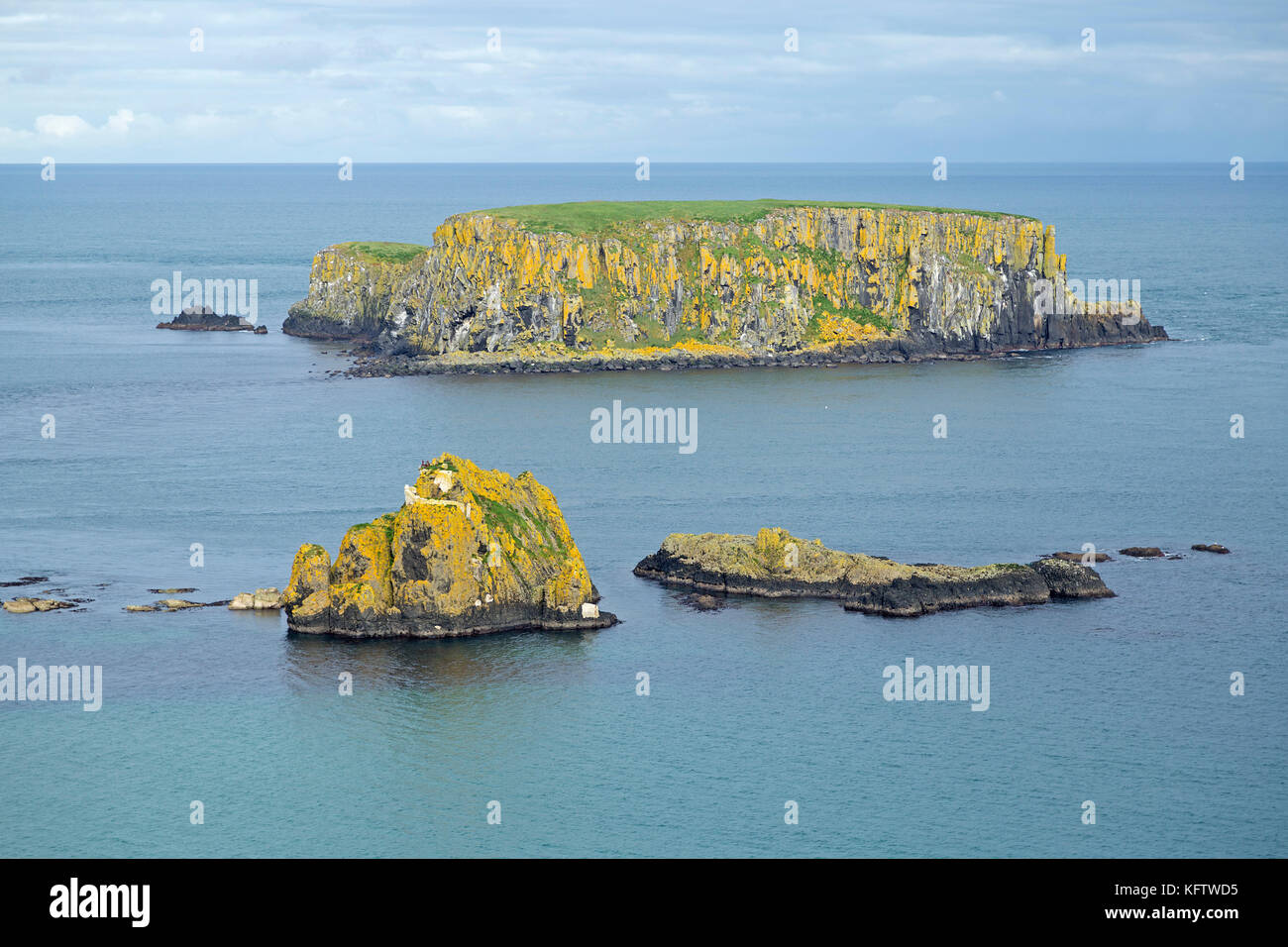 Sheep Island, Carrick-a-Rede Rope Bridge, Ballintoy, Co. Antrim, Northern Ireland - Stock Image