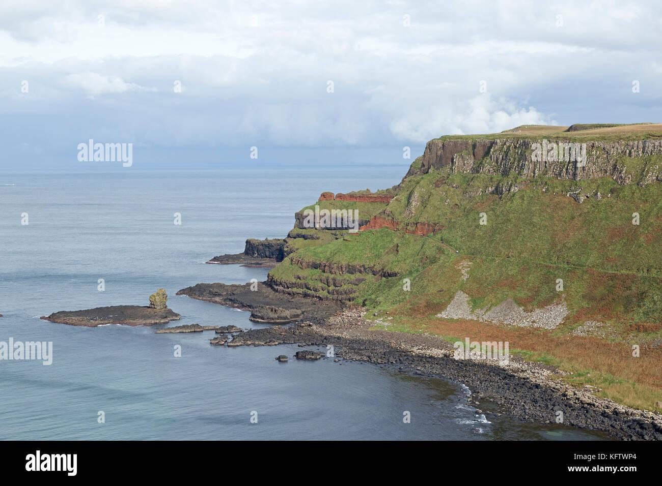 cliffs, Giants Causeway, Bushmills, Co. Antrim, Northern Ireland - Stock Image
