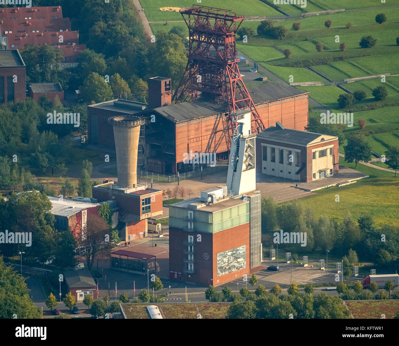 Consolidation 3 colliery, former colliery, Zechenturm, winding tower, Maschinenhaus, Gelsenkirchen, Ruhr area, North - Stock Image