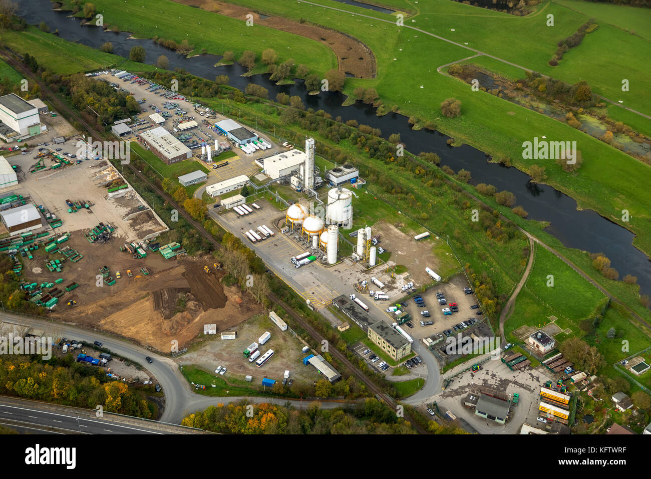 Air products, industrial gases company in the industrial area Henrichshütte calm, supplier of oxygen, nitrogen, - Stock Image