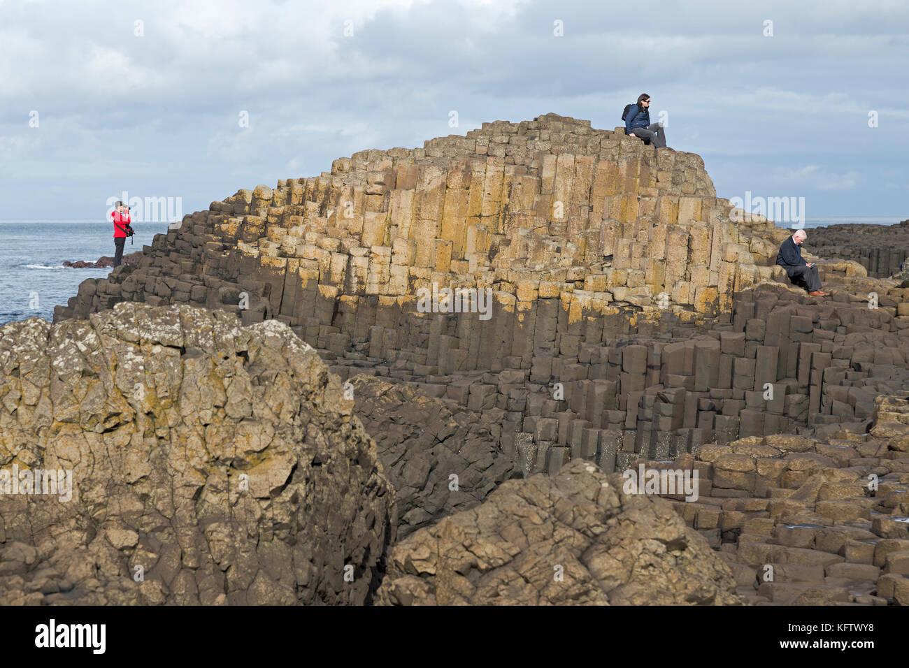 basaltic columns, Giants Causeway, Bushmills, Co. Antrim, Northern Ireland - Stock Image